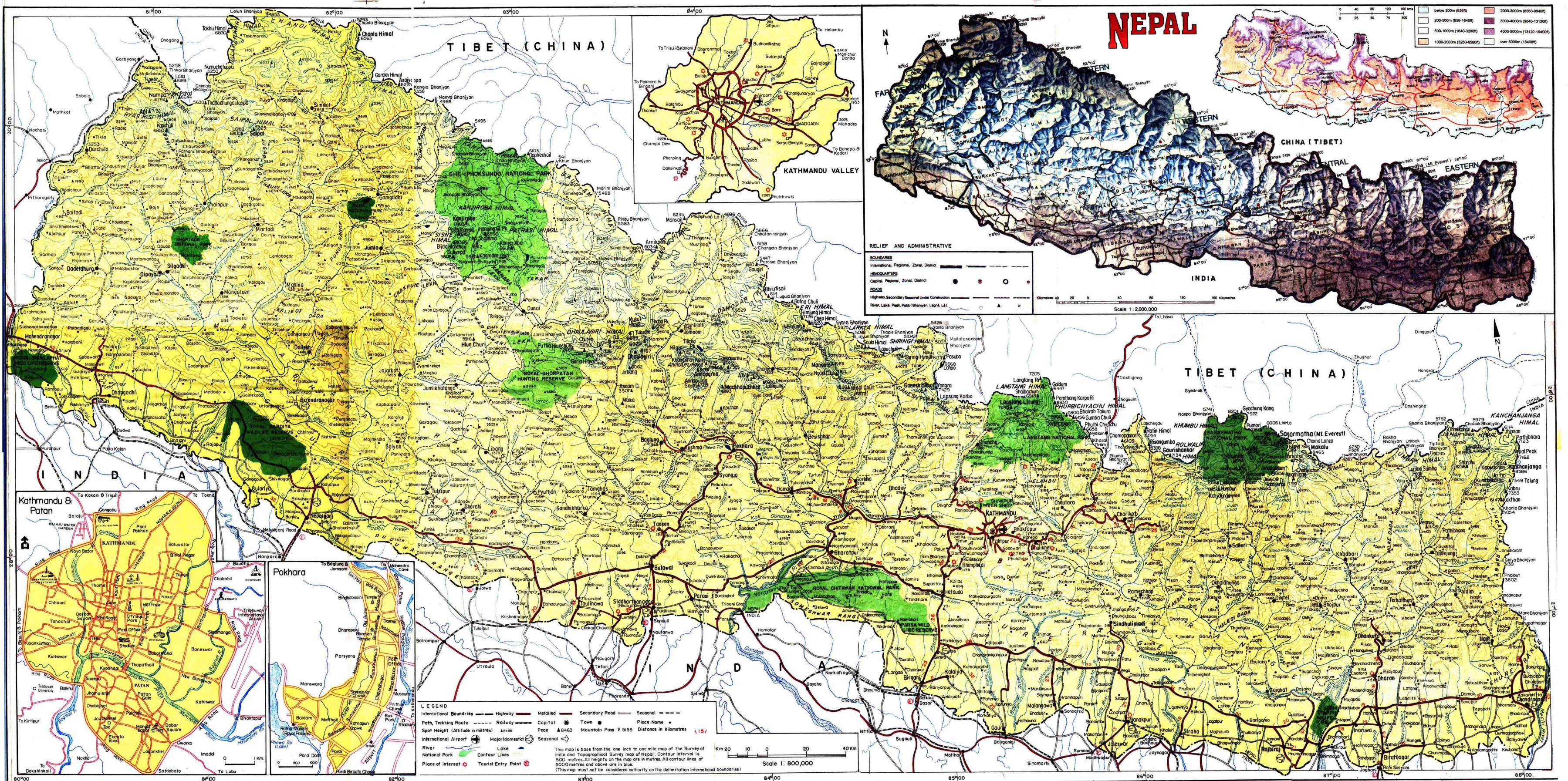 Nepal Hartă Rutier Harta Rutieră Din Nepal Cu Distanța Asia De